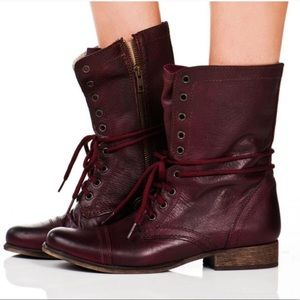 Steve Madden Leather Troopa Burgundy boots 7.5